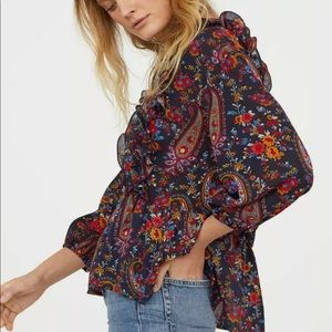 H&M Paisley Floral Peplum Semi Sheer Blouse
